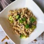 Creamy vegan mushroom and broccoli pasta